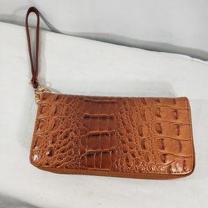 Handbags - Brown Croc Print Clutch / Wallet / Wristlet